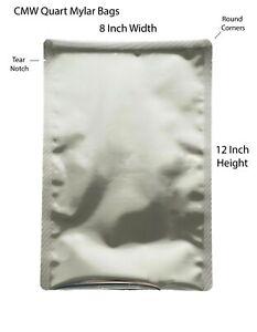 Quart Mylar Food Storage Bags SilverAluminum Foil Heat Seal Pack of 50