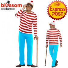 CL188 Mens Where's Wally Waldo Adult Wheres Cartoon Costume Book Week Outfit