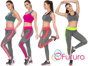 Women Full Length Activewear Leggings Ladies High Waist Stripe Sport Pants K8004