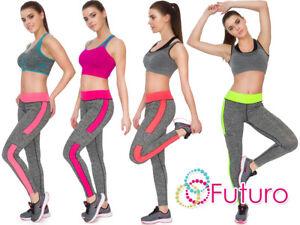 Women Full Length Activewear Leggings Ladies High Waist Stripe Sport Pants K8004