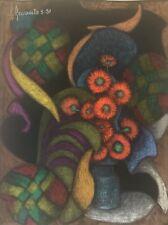 Superbe grand pastel Abstraction et Nature morte signé R Revaute Abstrait 1981,,