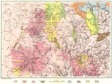 Centrale de la france. volcans de, geological c1885 old antique map plan graphique