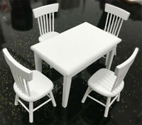 1:12 Dollhouse Miniature Furniture Wooden White Dining Table Chair Model Set
