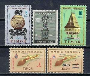Portugal TIMOR (2) 5 timbres différents neufs