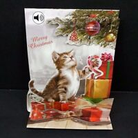 Christmas Pop Up Greeting Card Christmas Kitten 3D with Sound Holiday Card
