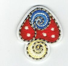 Iron On Embroidered Applique Patch - Fungi Mushroom - Red/Blue Gold Trim