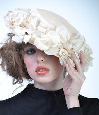 VTG 40s Cream FLORAL WIDE BRIM Church Fascinator Wedding HAT Races Derby