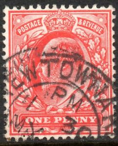 1902 Sg 220 1d bright scarlet with Newtonards County Down Double Circle Cancel