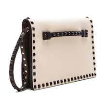 Valentino Garavani Large Bicolor Rockstud Flap Clutch Purse Bag EUC