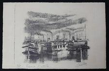 Joseph DELATTRE (1858-1912)Bateaux au port T. Rare Epreuve d'artiste Ecole Rouen