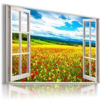 SUMMER FLOWERS RED POPPY FIELD  3D Window View Canvas Wall Art W541 MATAGA .