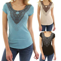 New Summer Womens Tops Blouse Ladies O Neck Lace Short Sleeve Casual T-Shirt Tee