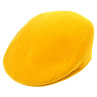 HERMES Vintage Logos Casket Hat Cap Yellow #57 Authentic AK38184i