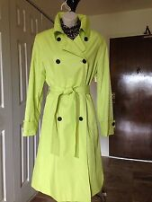 AK Anne Klein Lemon Yellow Double Breast Belted Lined Trench Coat M EUC