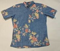 Reyn Spooner button up hawaiian aloha shirt men's Large blue floral short sleeve