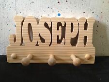 WOODEN COAT PEGS HOOKS/HOOK HANGERS PERSONALISED CHILDRENS BEDROOM NAMES...