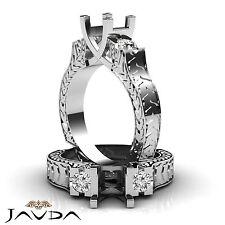 Round Diamond Antique Three Stone Filigree Ring Semi Mount 18k White Gold 0.35Ct