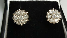 0.80Ct Natural Diamond Flower Halo Stud Earrings 14k Yellow and White Gold,3g