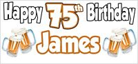 Beer 75th Birthday Banner x 2 Party Decorations Mens Husband Dad Grandad Son