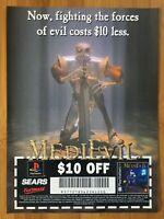 MediEvil PS1 Playstation 1 1998 Vintage SEARS PROMO Poster Ad Art Print Medieval
