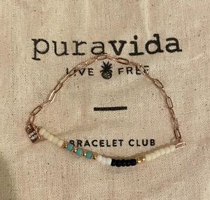 Pura Vida Rose Gold Paperclip Stretch Elastic Beaded Bracelet/FAST FREE SHIPPING