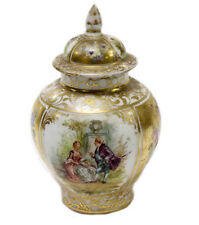 Dresden Ginger Lidded Jar Hand Painted Courting Scenes Floral Ornate Gold