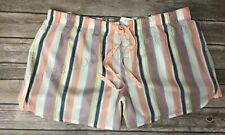 Women's Gilligan & O'Malley Peach striped Pajama lounge shorts P'js New Size XL