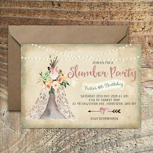 BIRTHDAY INVITATIONS Teepee Party Sleepover Slumber Personalised Any Age PK 10