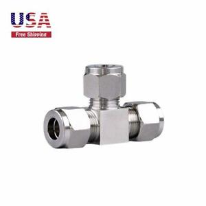 "Pneumatic Stainless Steel Ferrule Compression 1/2"" Air Fittings Tee Connector"