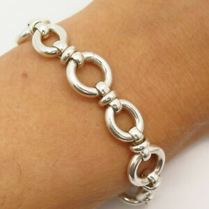 """925 Sterling Silver Italy Circle & Oval Link Bracelet 6 3/4"""""""