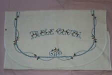 Vtg Embroidered Arts & Crafts Era Tablecloth Holder Carrier Storage Linen