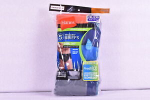 Men's Hanes 5-Pack Sport Styling Cool Dri Tagless Briefs, Orange/Blue/Grey, 2XL