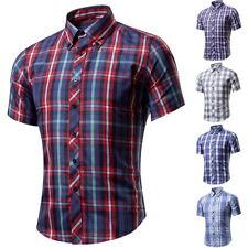 Herren Plaid Freizeithemd Klassische Hemden Shirts Kurzarm Bluse Oberteile FL