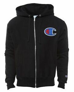 Champion Life Men's Reverse Weave Full ZIP Hoodie Black C Logo  Small