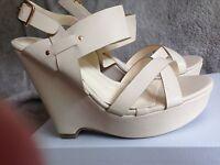 Ladies Wedge heel summer sandals in pink, cream and blue size 6