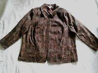 CJ Banks Jacket Size 2X Zip Plus Front Brown Red Black Long Sleeves Collar