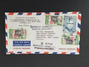 1968 Guatemala Mansfield Ohio Registered Multi Franked Air Mail Business Cover