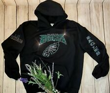 New Women's Philadelphia Eagles Hoodie Sweatshirt size Med Rhinestones Bling