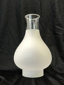 Vtg Oil Lamp Shade Hurricane Chimney Globe Frosted Clear Ruffle Crimp 3.5 Fitter