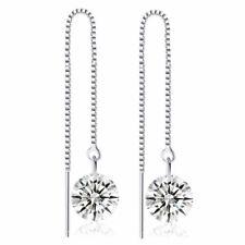 Elegant Crystal Threader Ear line Cubic Zircon Pierced Dangling Long Ear drop