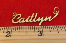 """14KT GOLD EP """"CAITLYN"""" PERSONALIZED NAMEPLATE WORD CHARM PENDANT 6058A"""