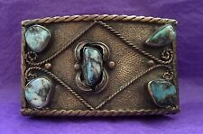 VTG Very RARE Aged Mexican Alpaca & Chunk TURQUOISE Stones Western BELT BUCKLE