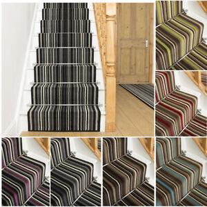 runrug Long Stair Carpet Runner Stripe Heavy Duty Washable Modern Strike