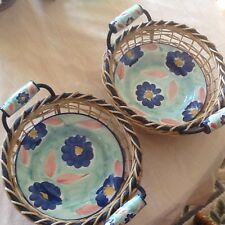 """Pier 1 import  ~ 2 ~ 9"""" Handpainted Bowls With Matching Baskets  Made In Italy"""