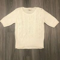 Beldoch Popper Womens Medium Linen Cotton Blend White S/S Sweater