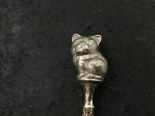 Antique 1924 Sterling Silver Cat Baby Rattle Wood Handle Kittie Marie