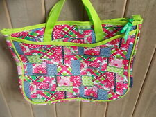 LILLY PULITZER Pink Green Blue Patchwork Floral Nylon Beach Tote Shopper
