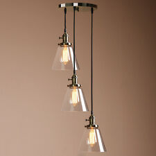 EDISON CLUSTER 1/3 PENDANT LAMP BRONZE ANTIQUE CEILING LIGHT CLEAR GLASS SHADE