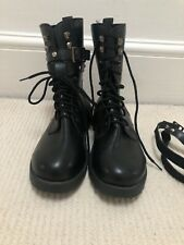NEW Black Lace Up Biker Style Boots 38 Uk 5