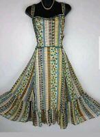 PER UNA M&S dress size 20 midi flared strappy multi print Summer BNWT £45